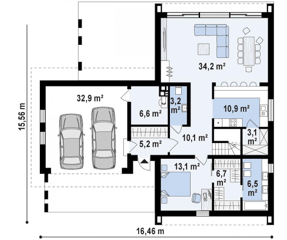Проект дома 067N (план первого этажа)