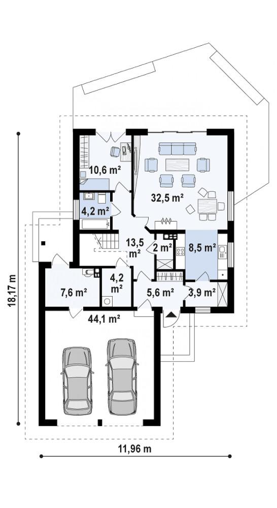 Проект дома 070N (план первого этажа)