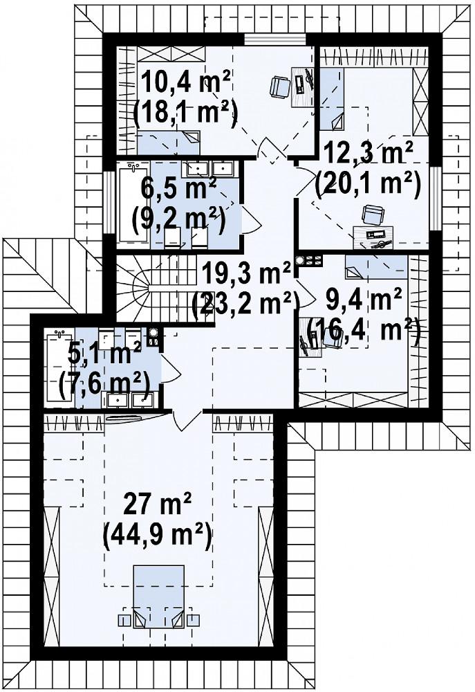 Проект дома 070N (план мансарды)
