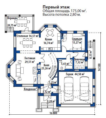 Проект дома 071N (план первого этажа)