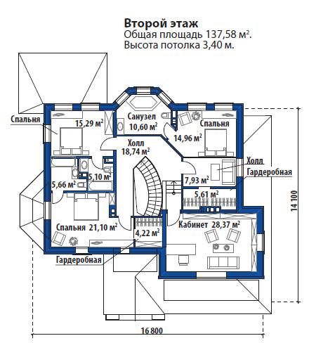 Проект дома 071N (план второго этажа)