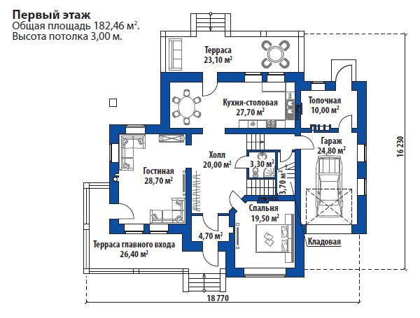 Проект дома 072N (план первого этажа)