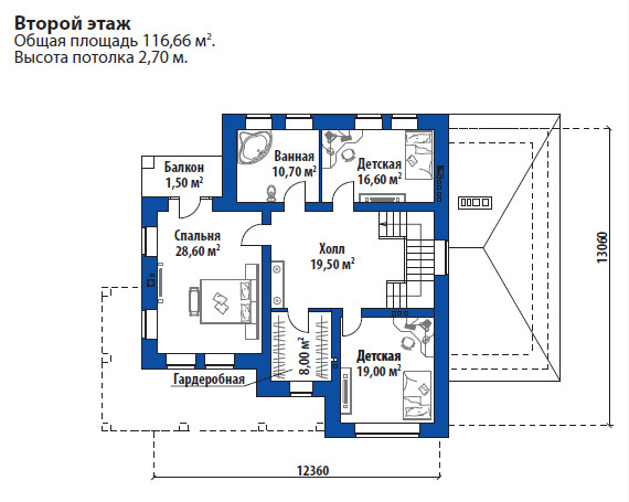 Проект дома 072N (план второго этажа)