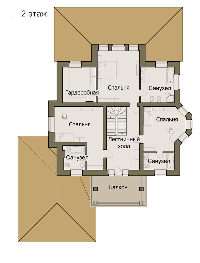 Проект дома 073N (план второго этажа)