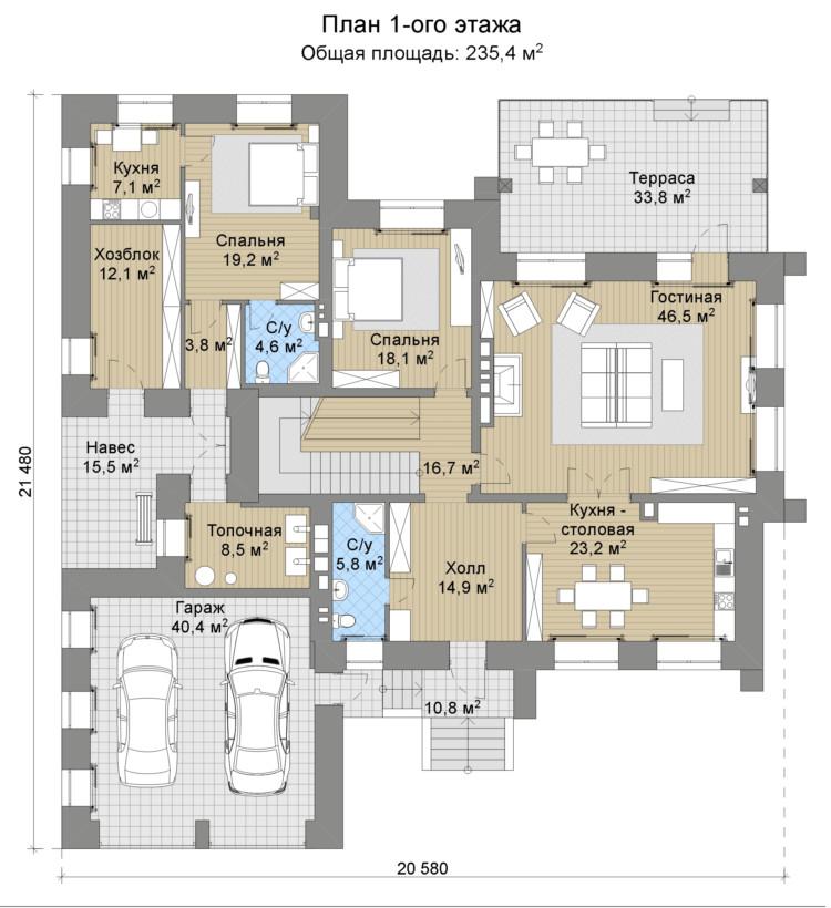 Проект дома 074N (план первого этажа)
