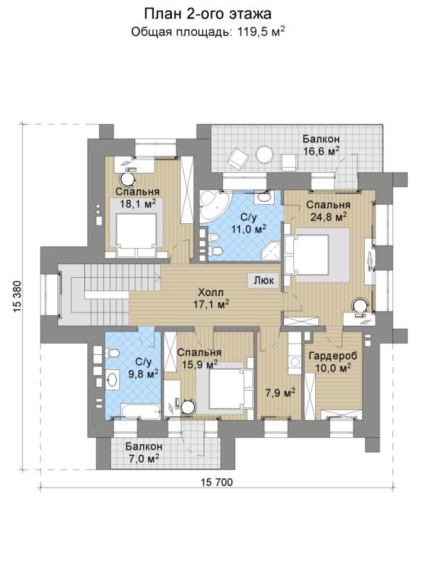 Проект дома 074N (план второго этажа)
