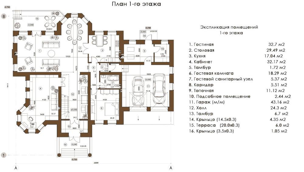Проект дома 075N (план первого этажа)
