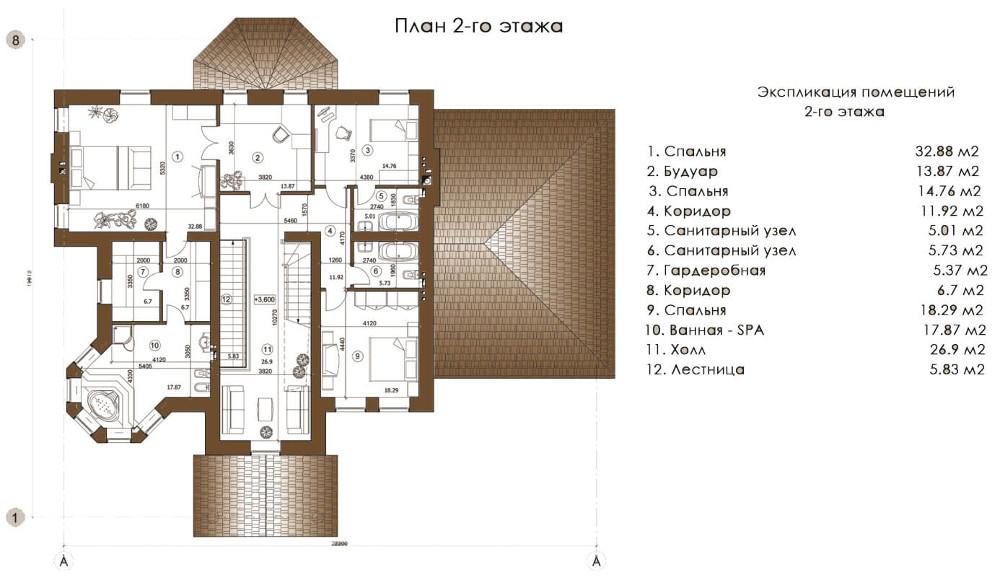 Проект дома 075N (план второго этажа)