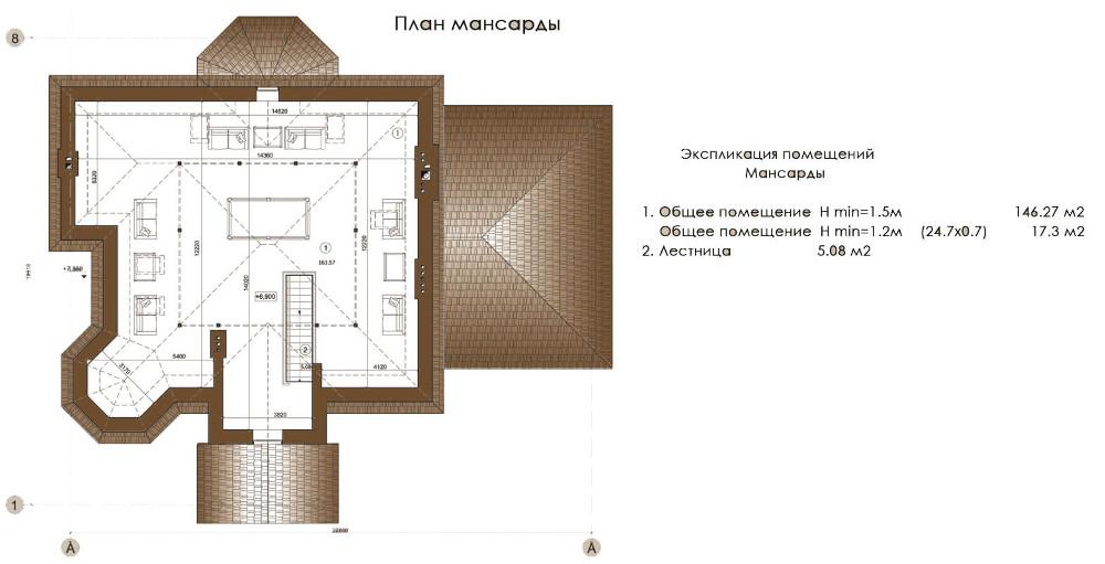 Проект дома 075N (план мансарды)