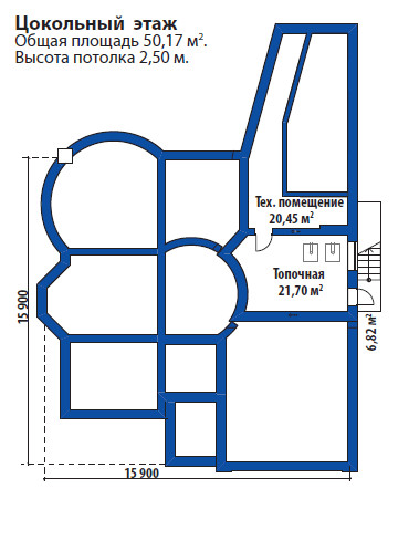 Проект дома 077N (план цокольного этажа)