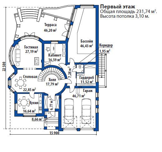 Проект дома 077N (план первого этажа)