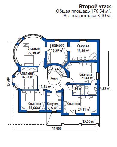 Проект дома 077N (план второго этажа)