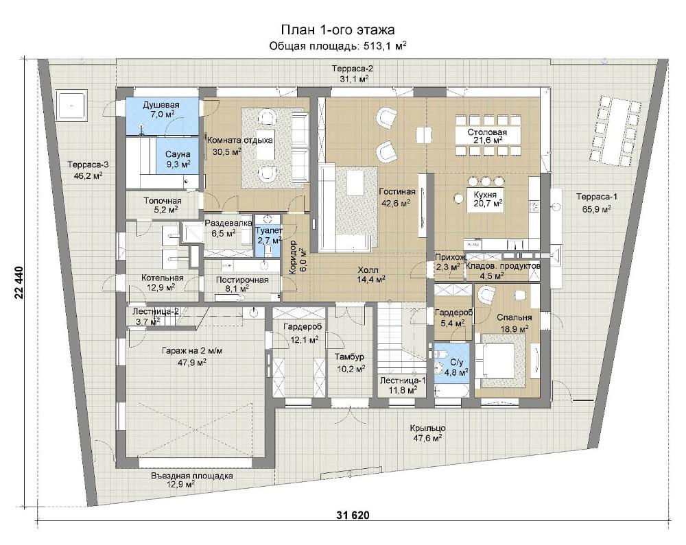 Проект дома 078N (план первого этажа)
