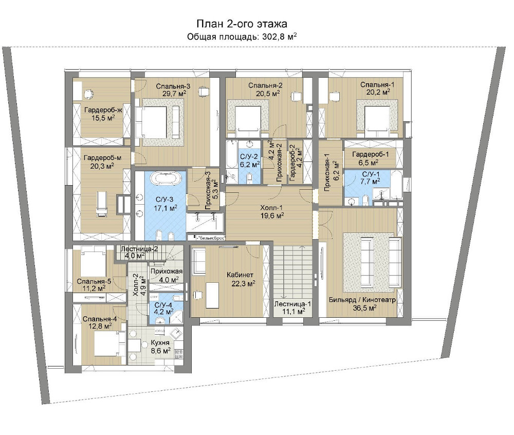 Проект дома 078N (план второго этажа)