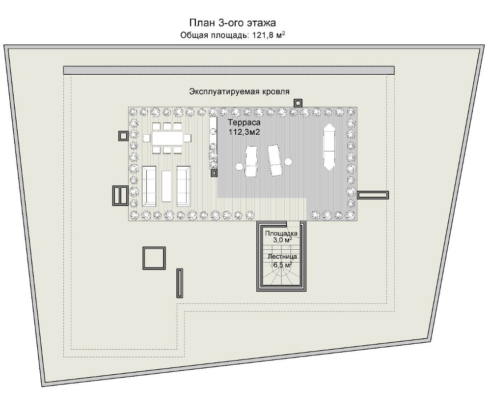 Проект дома 078N (план мансарды)