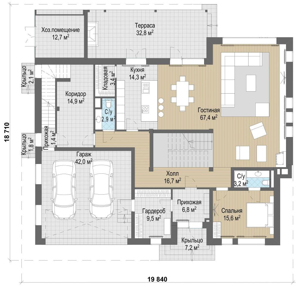 Проект дома 079N (план первого этажа)