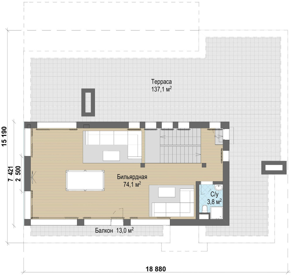 Проект дома 079N (план мансарды)